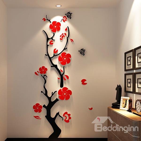 stunning plum flower 3d wall stickers open http www on wall stickers 3d id=49349