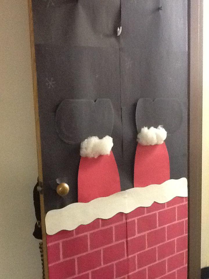 Santa Stuck In The Chimney Door Door Decor Pinterest