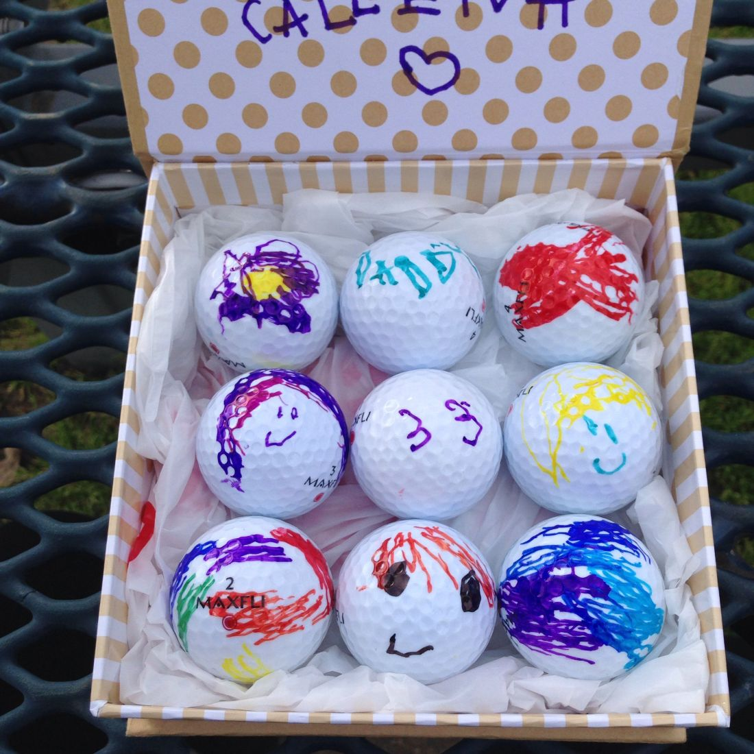 Custom golf balls for dad or any golfer recycled let