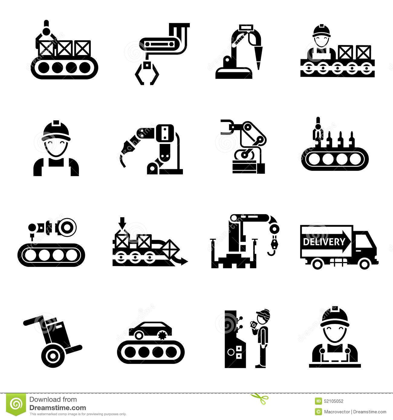 Production Line Icons Black Product Manufacturing Quality