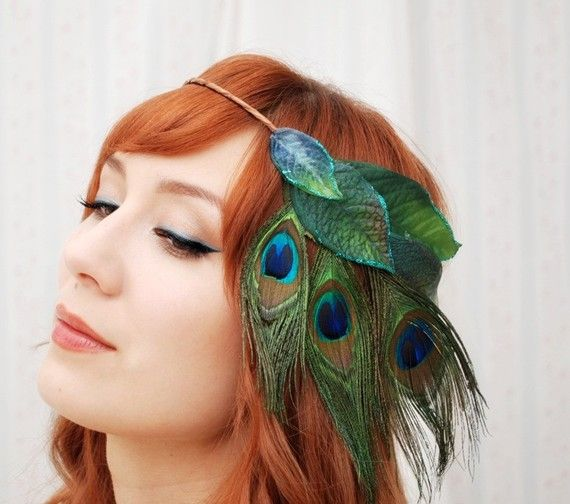 Whimsical Crown Peacock Headband Feather Head Peice