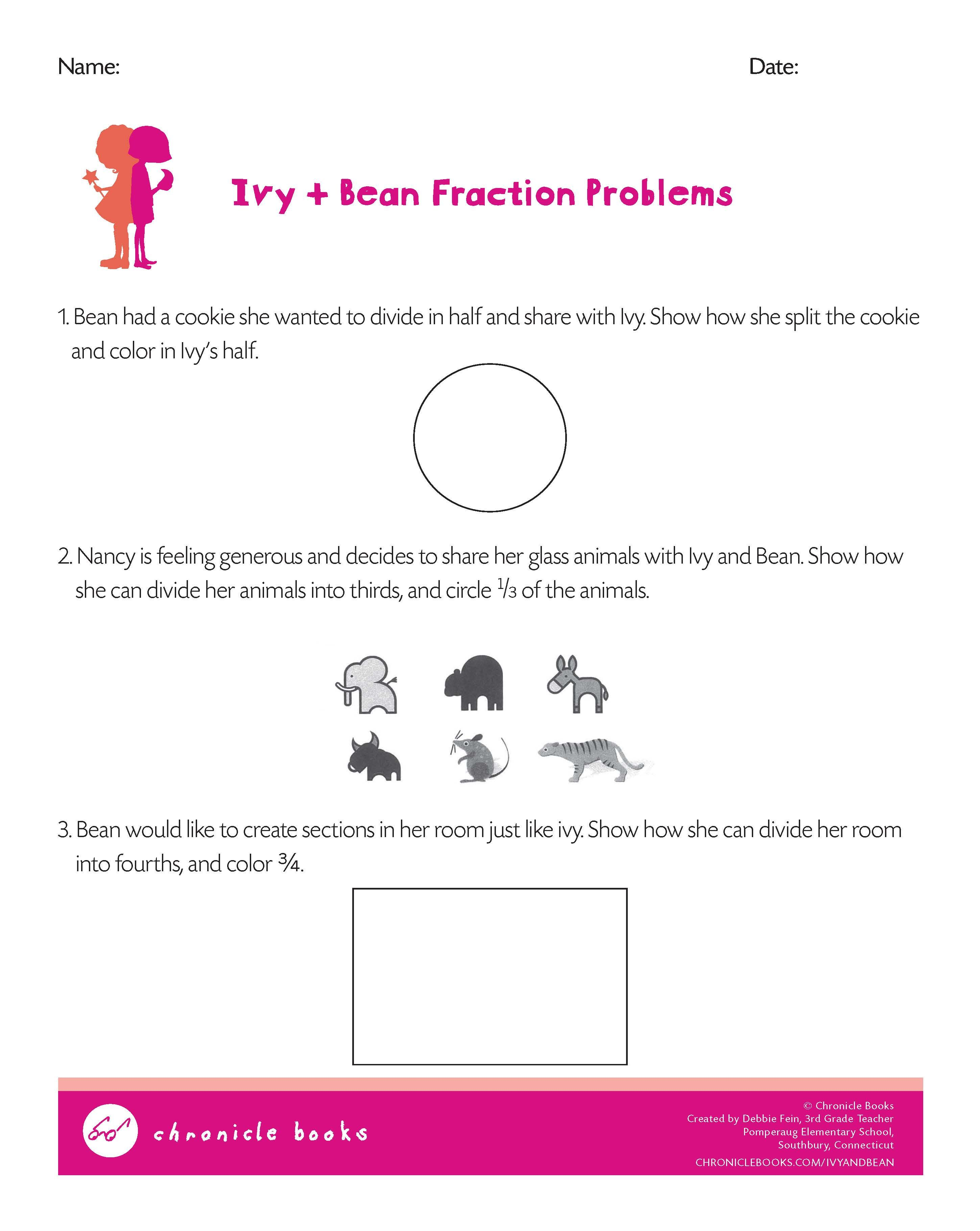 Ivy And Bean Fraction Problems Math Worksheet