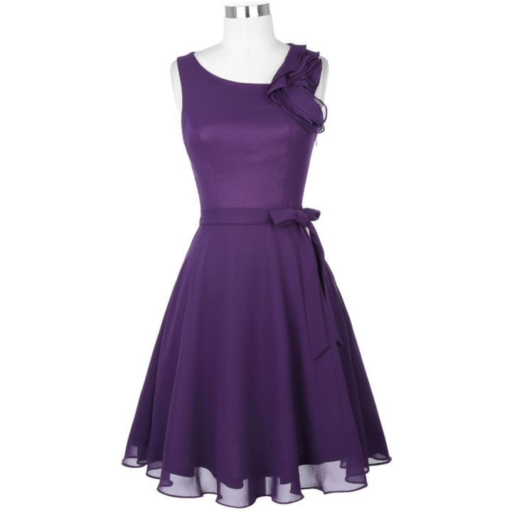 Short Purple Ruffle Sleeveless Knee Length Chiffon Bridesmaid Dress
