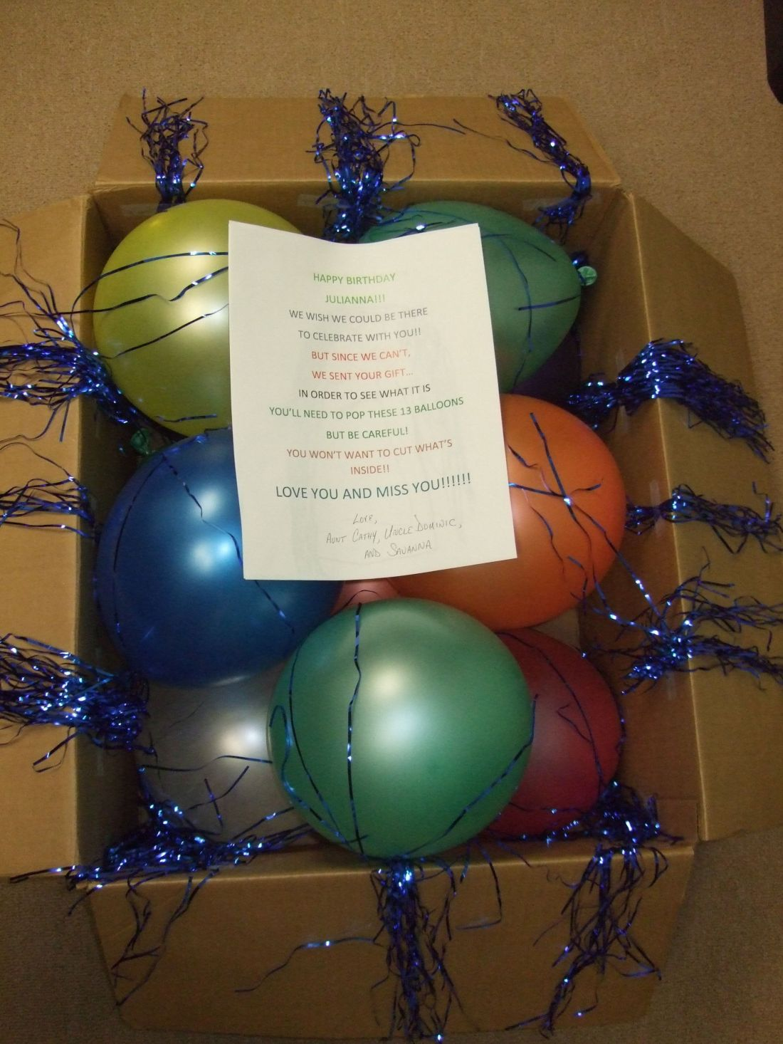A box of 13 balloons sent to my niece for her 13th