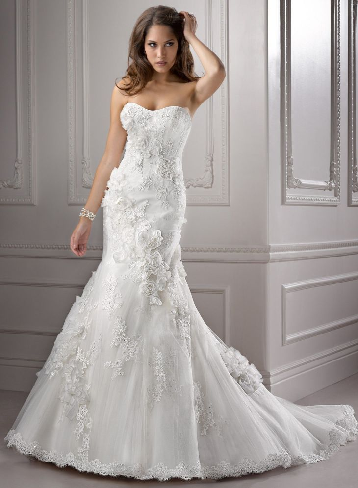 Lace and Tulle Capsleeves Neckline Fit and Flare Aline Wedding