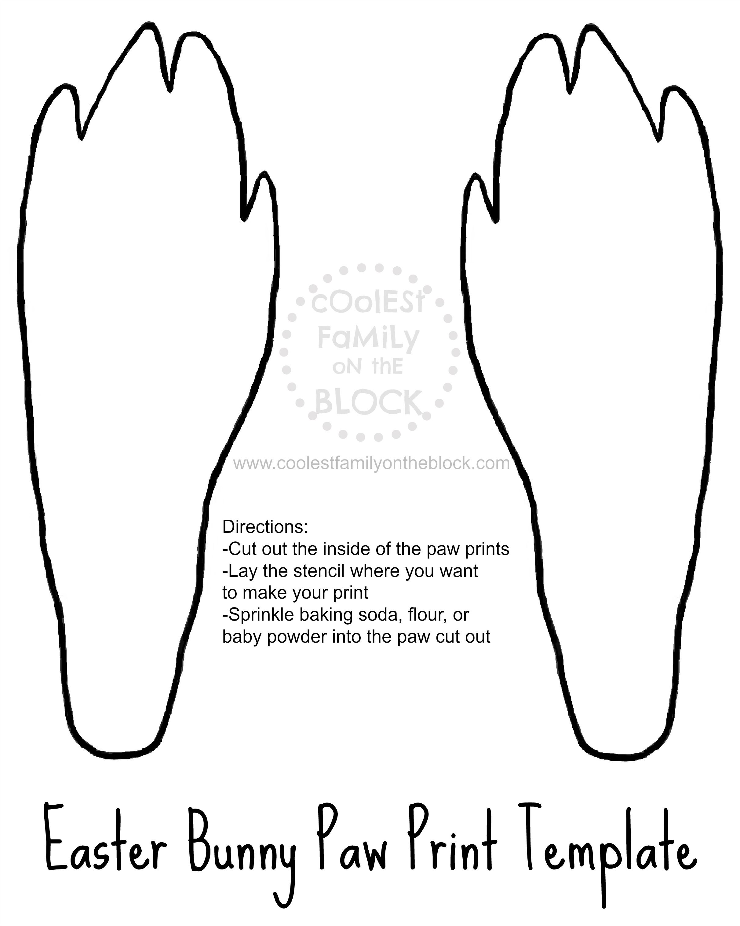 Free Printable Easter Bunny Paw Prints Template Back Paws Stencil Footprint Trail Tracks