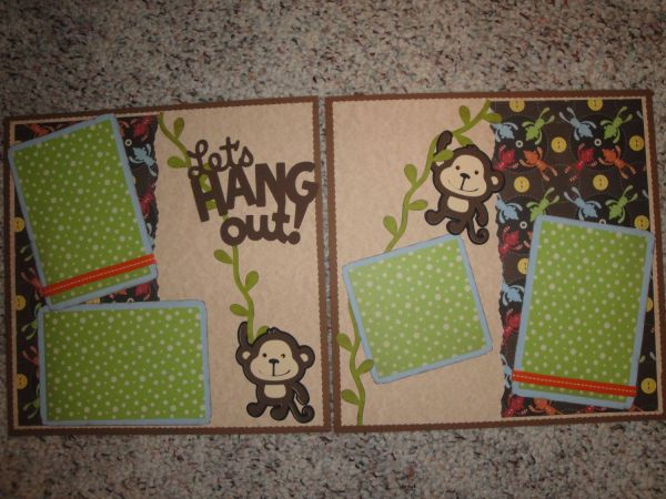 12 x 12 Premade Scrapbook Pages Monkey Fun Cover pages