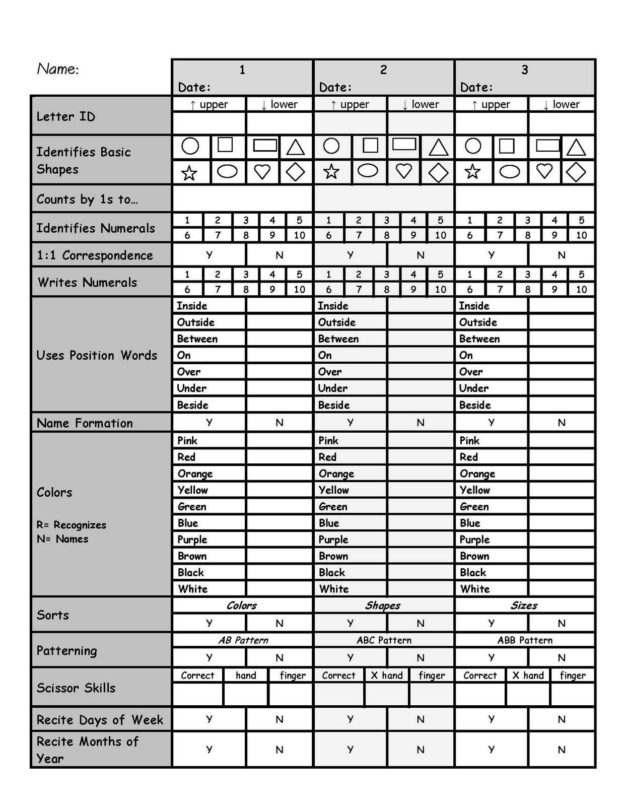 Testing 4 Year Old Preschool Worksheet