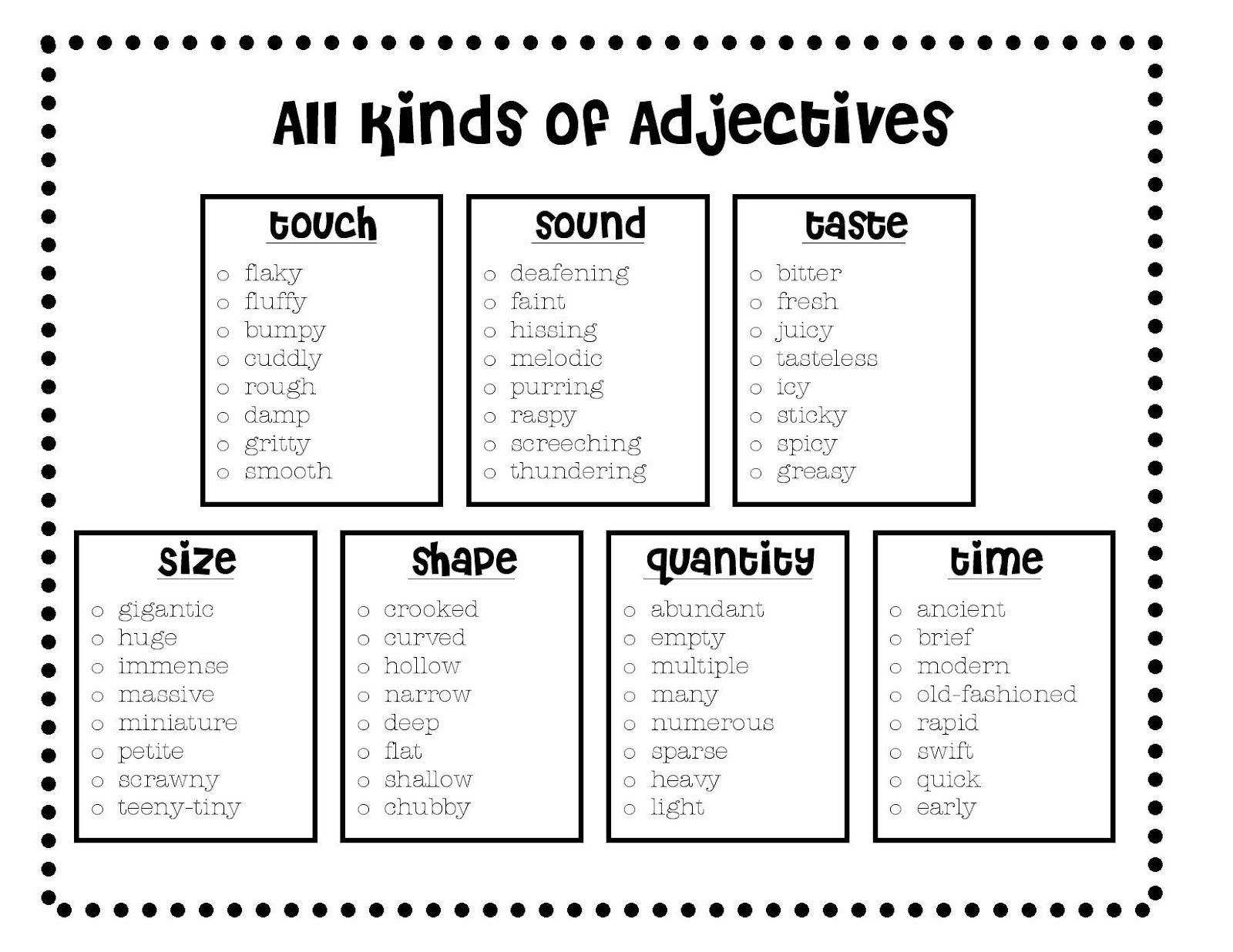 Descriptive Writing 6th Grade