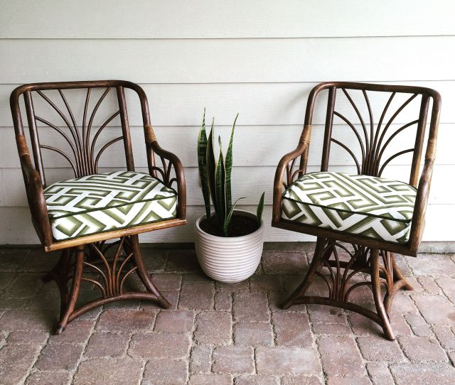 Gorgeous Bamboo Rattan Swivel Chairs Custom Made Cushions Using Richloom Fabric And Restored Finish