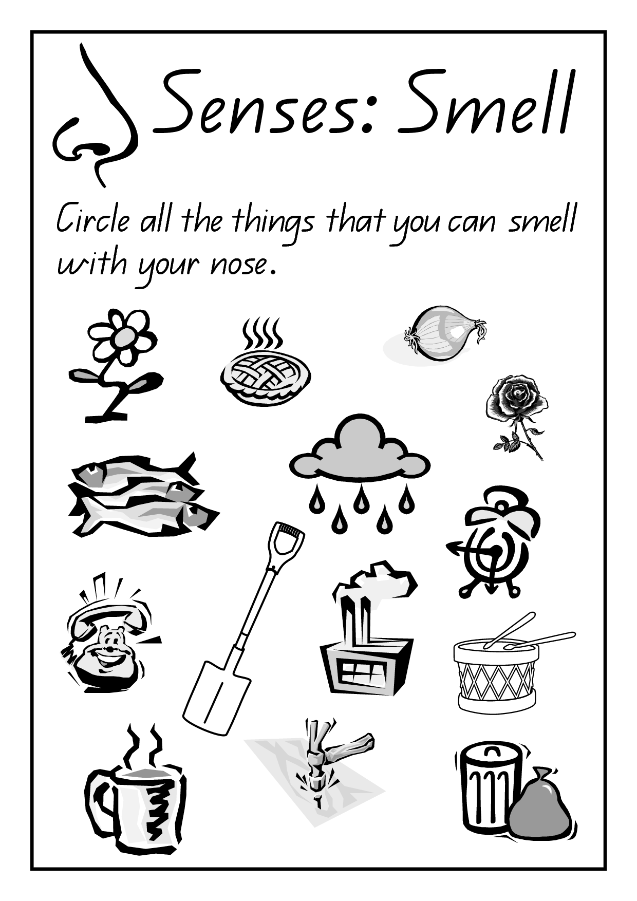 Awesome 5 Senses Coloring Page Preschool