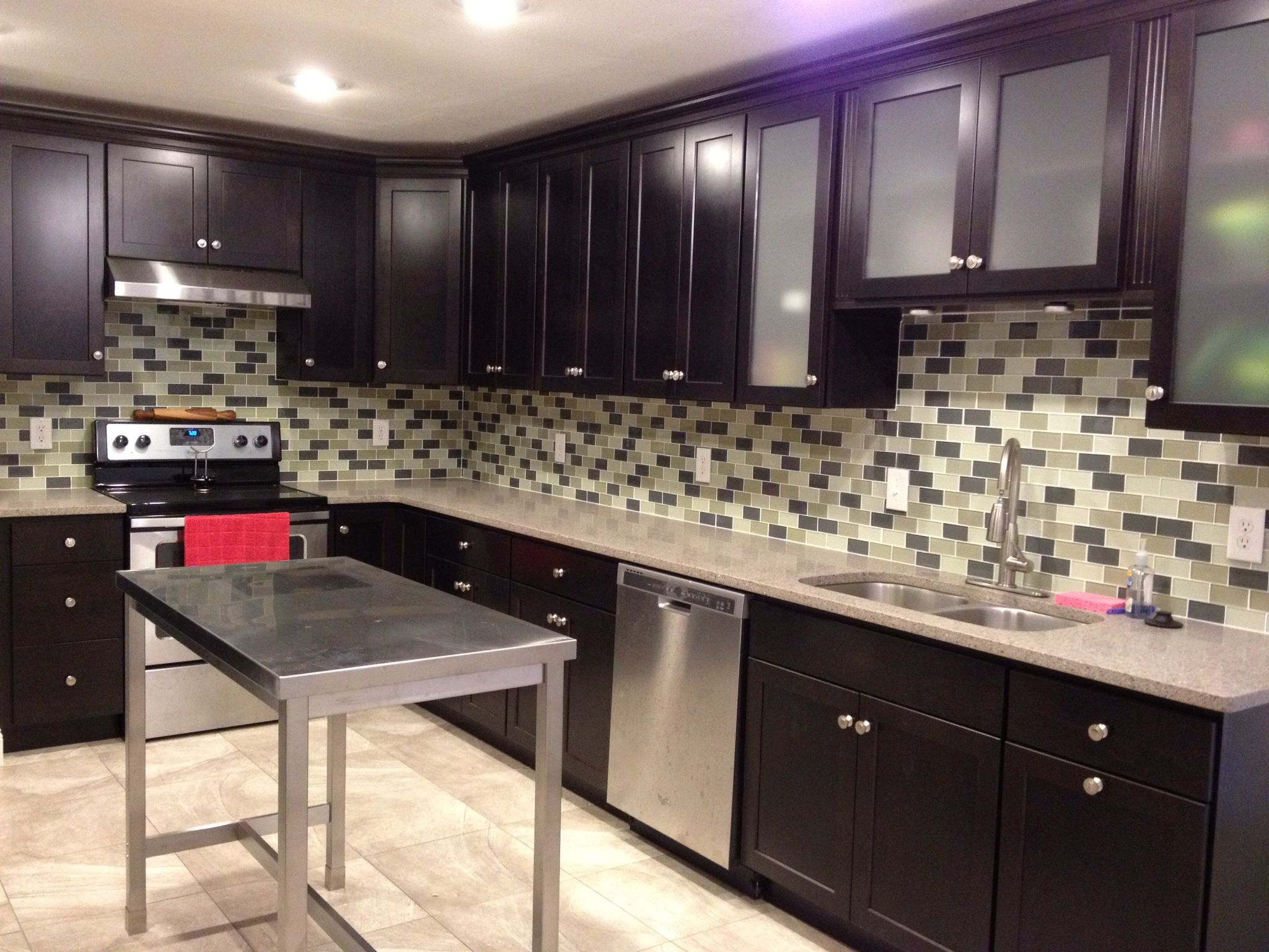 java kitchen cabinets with subway tile backsplash and stainless steel appliances kitchens on kitchen cabinets java id=38611