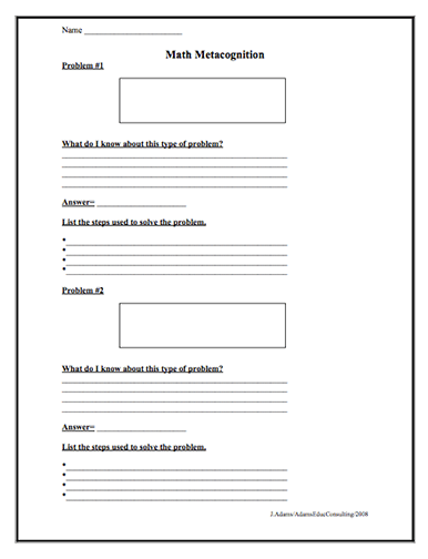 Here S A Metacognition Page Designed To Get Students