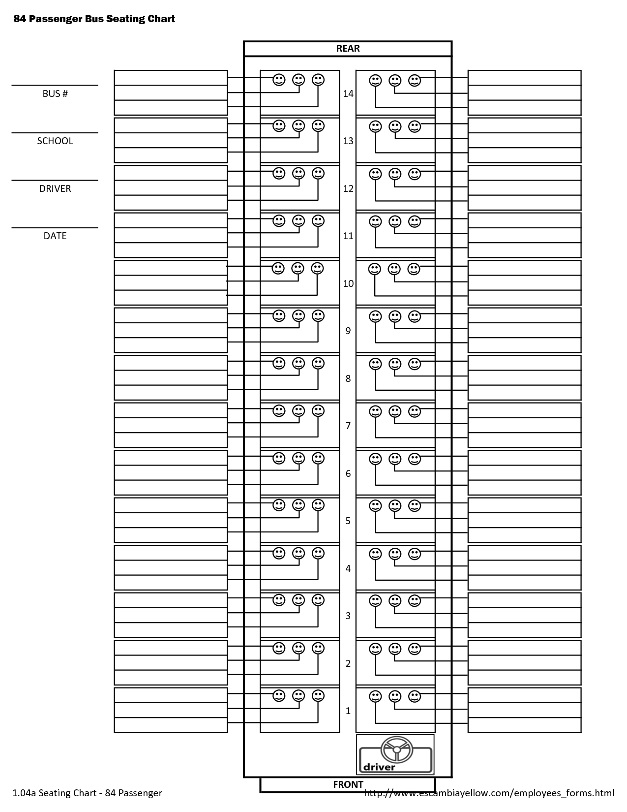 84 Passenger School Bus Seating Chart