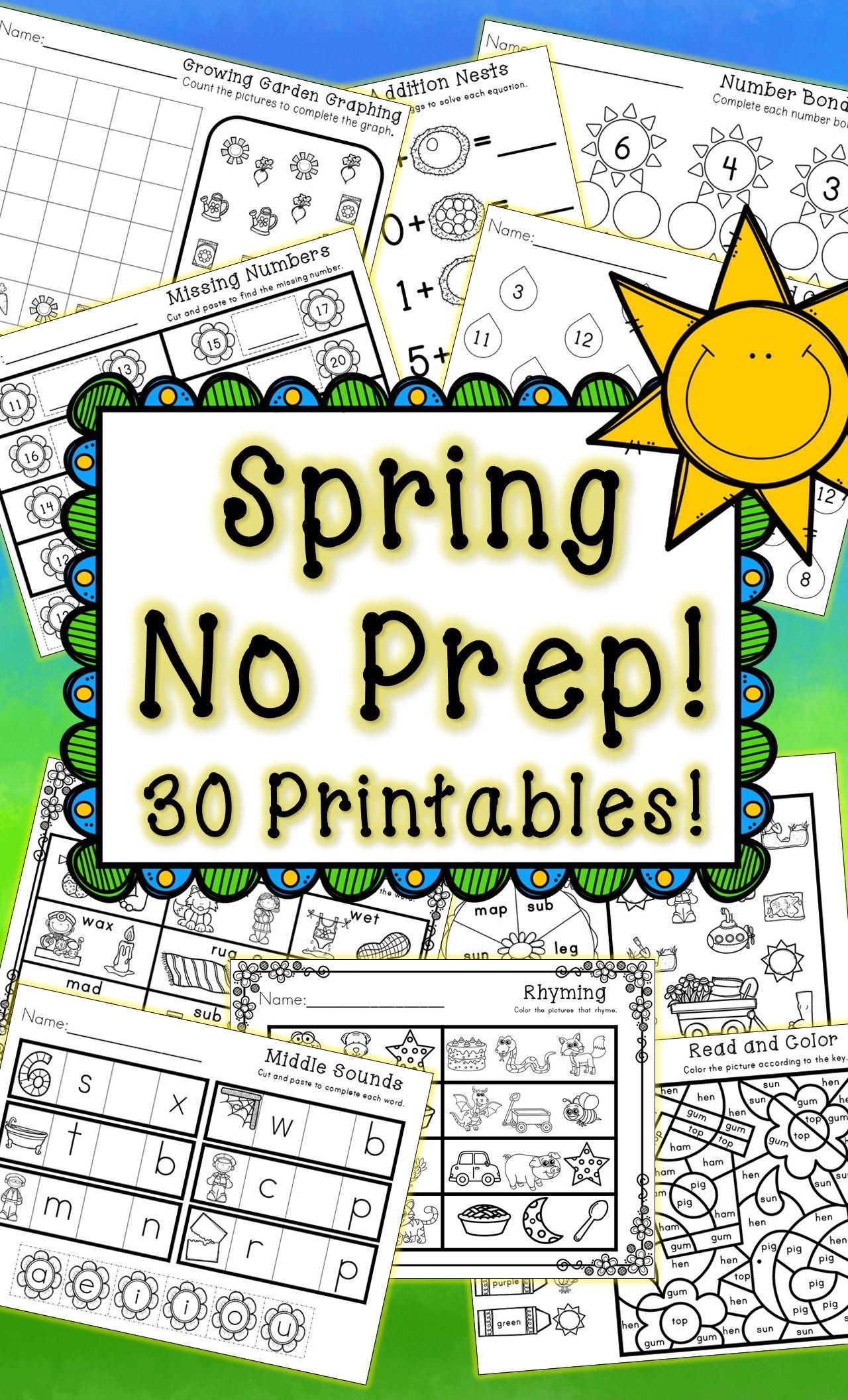 Kindergarten Spring Printables