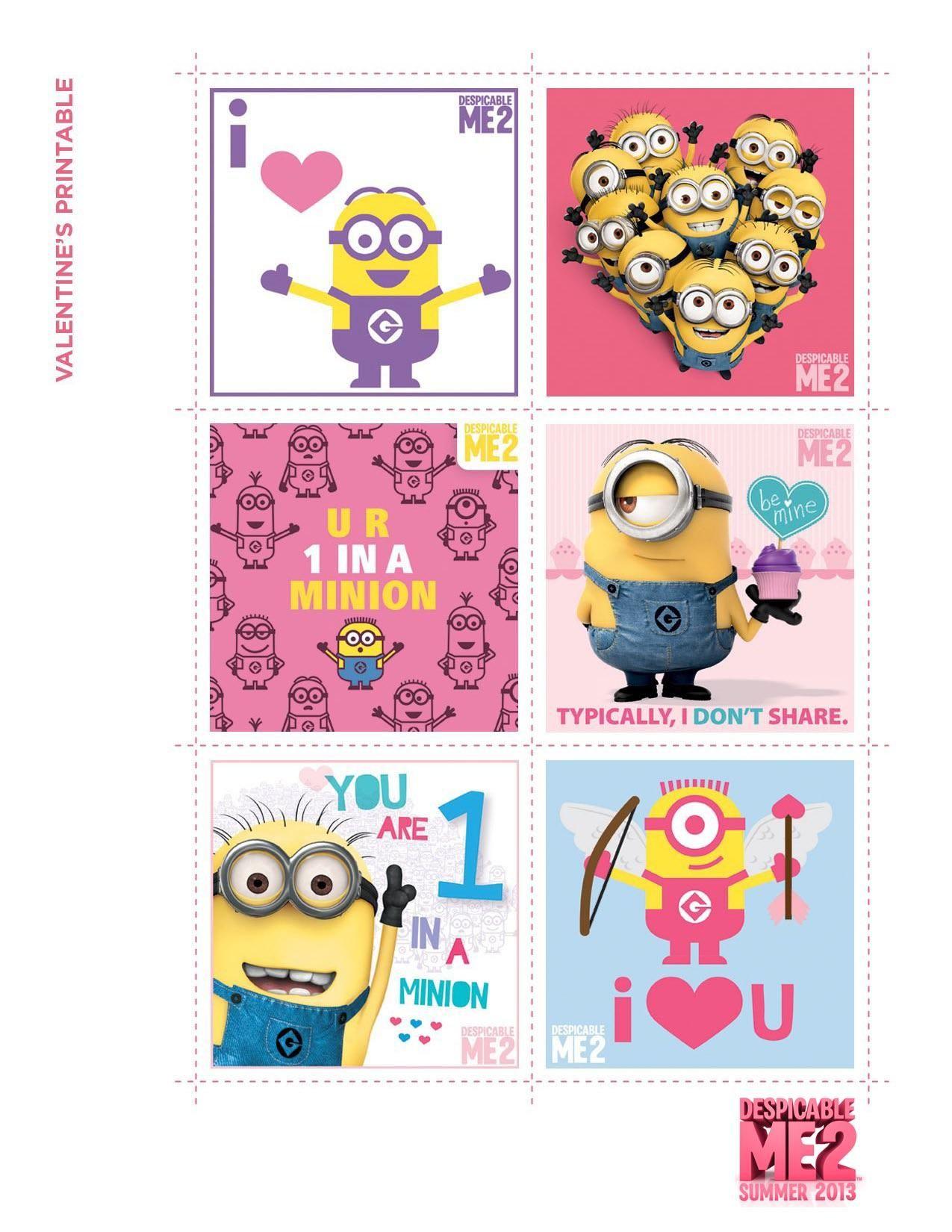 Despicable Me 2 Valentine Printables