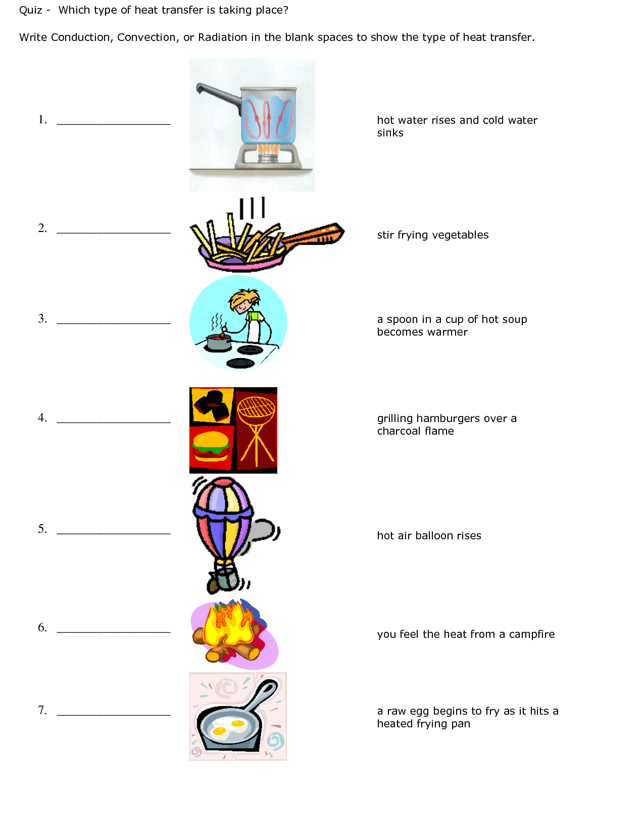 Conduction Convection Radiation Worksheet Quiz