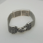 Silver plated mesh wire bracelet with heart design jewelry