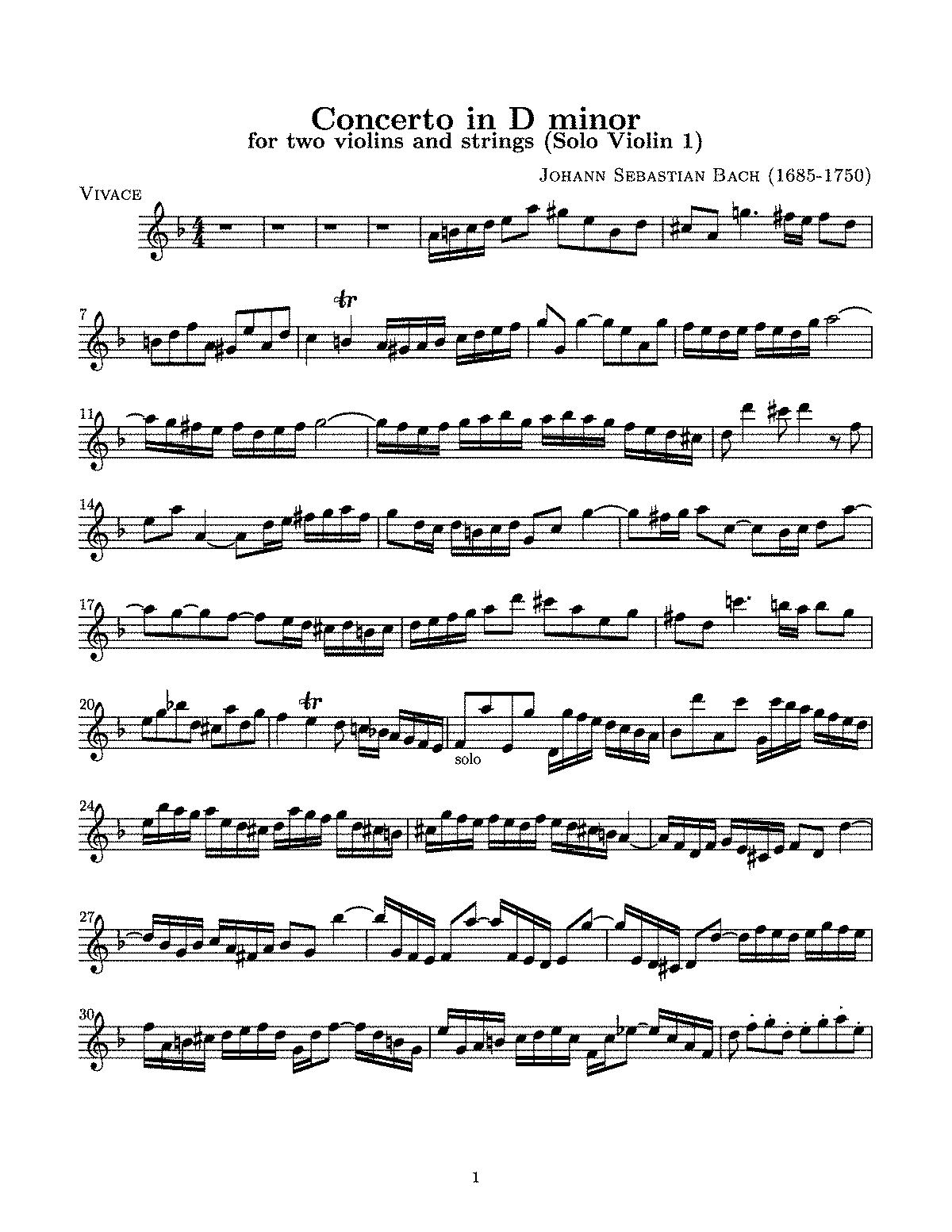 Free Sheet Music Bach Double Violin Concerto