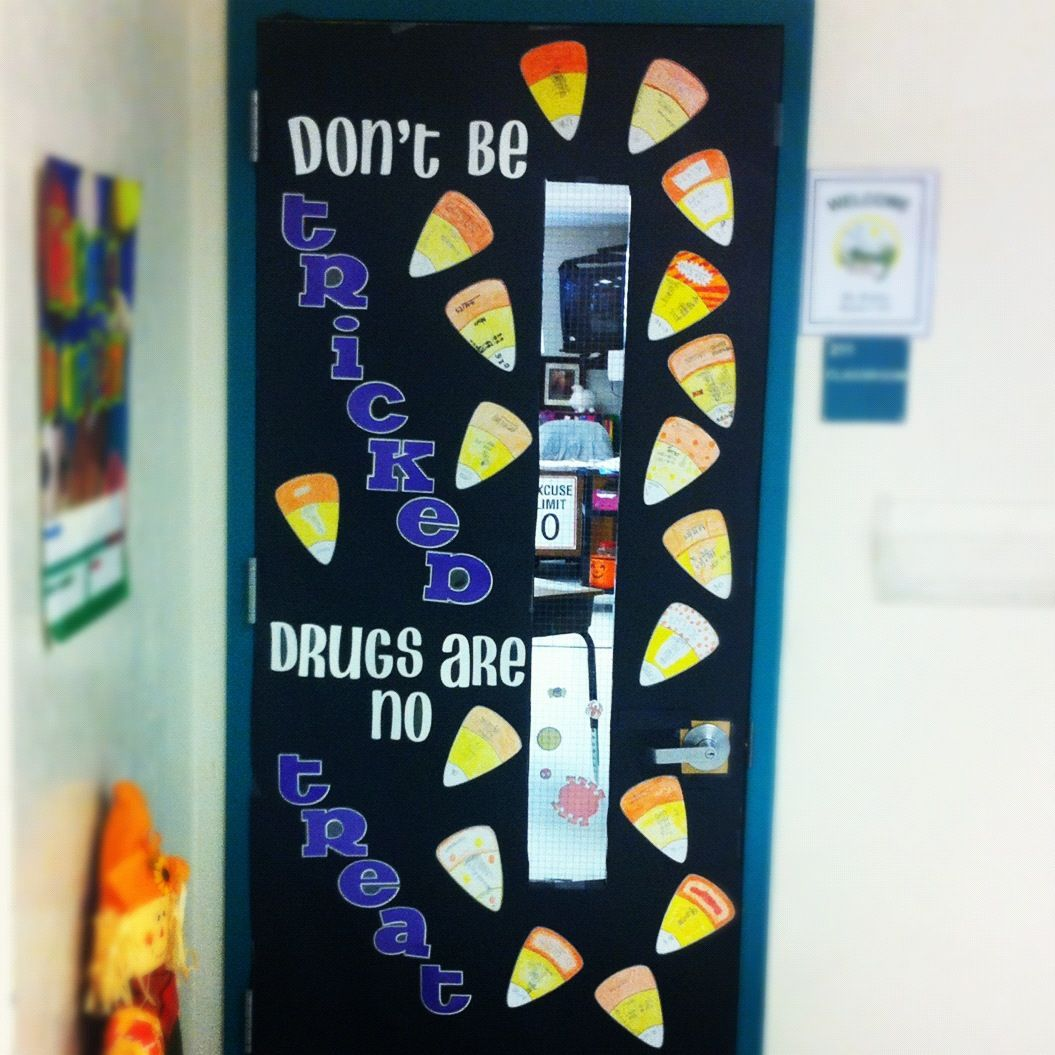 Red Ribbon Week Halloween Themed Bulletin Board And The Candy Corns Are Student Written And