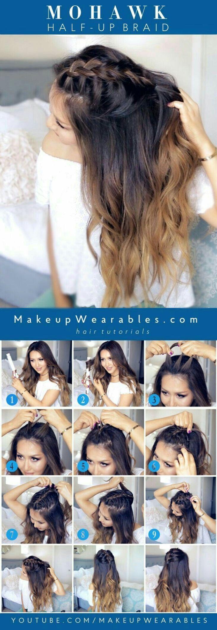Mohawk half up braid Hair and more Pinterest Mohawks Hair