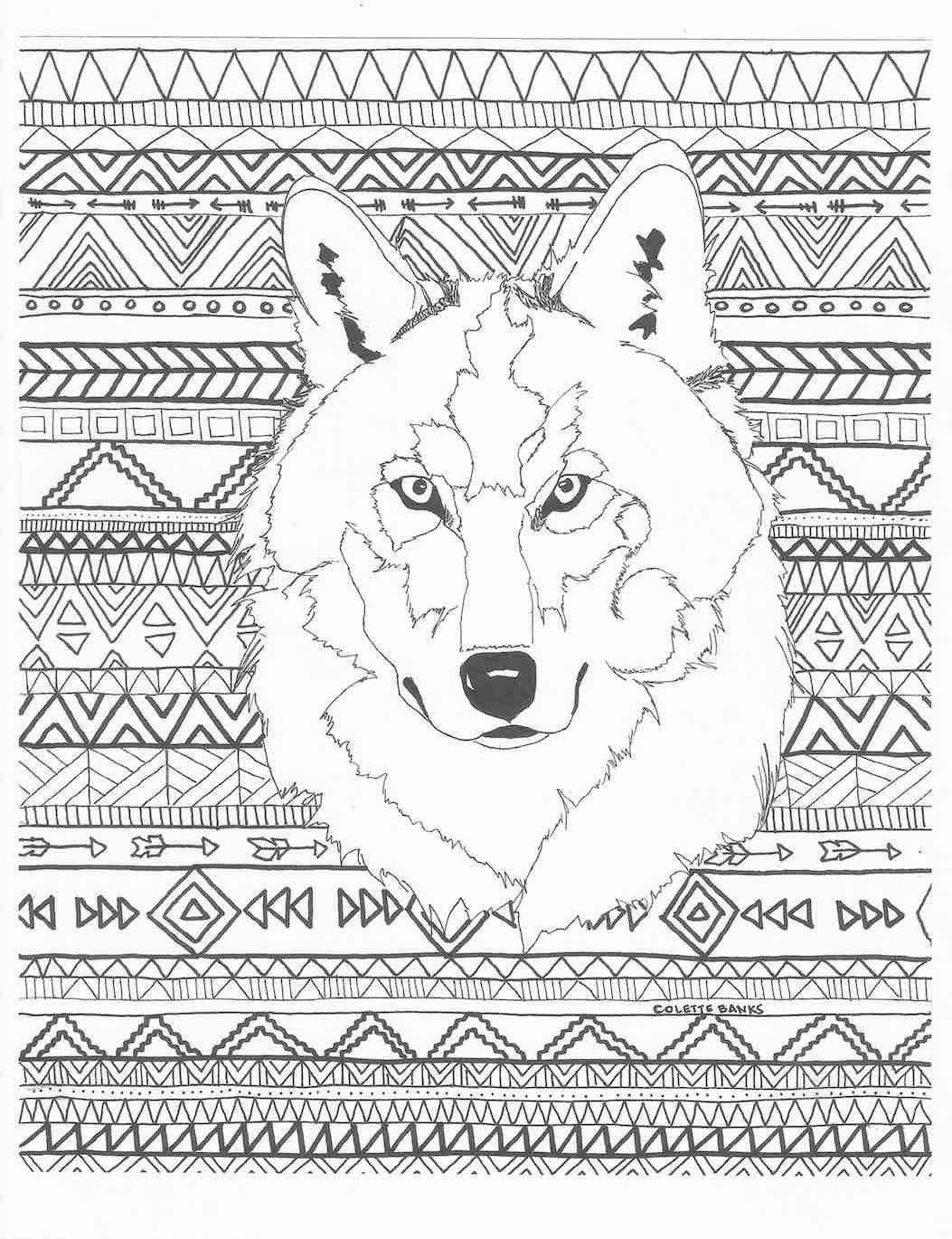 Aztec Adult Printable Coloring Page Of A Navajo By