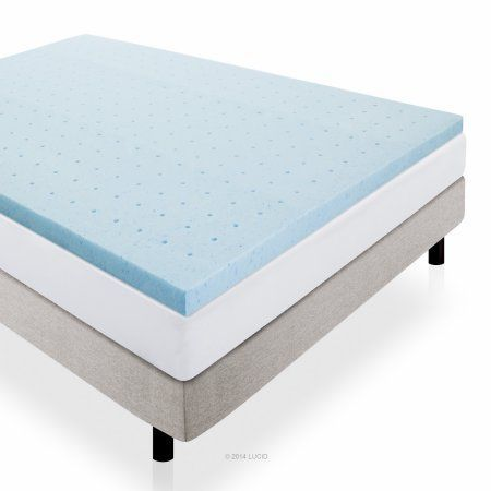 Used Lucid 2 Inch Gel Infused Ventilated Memory Foam Mattress Topper Blue