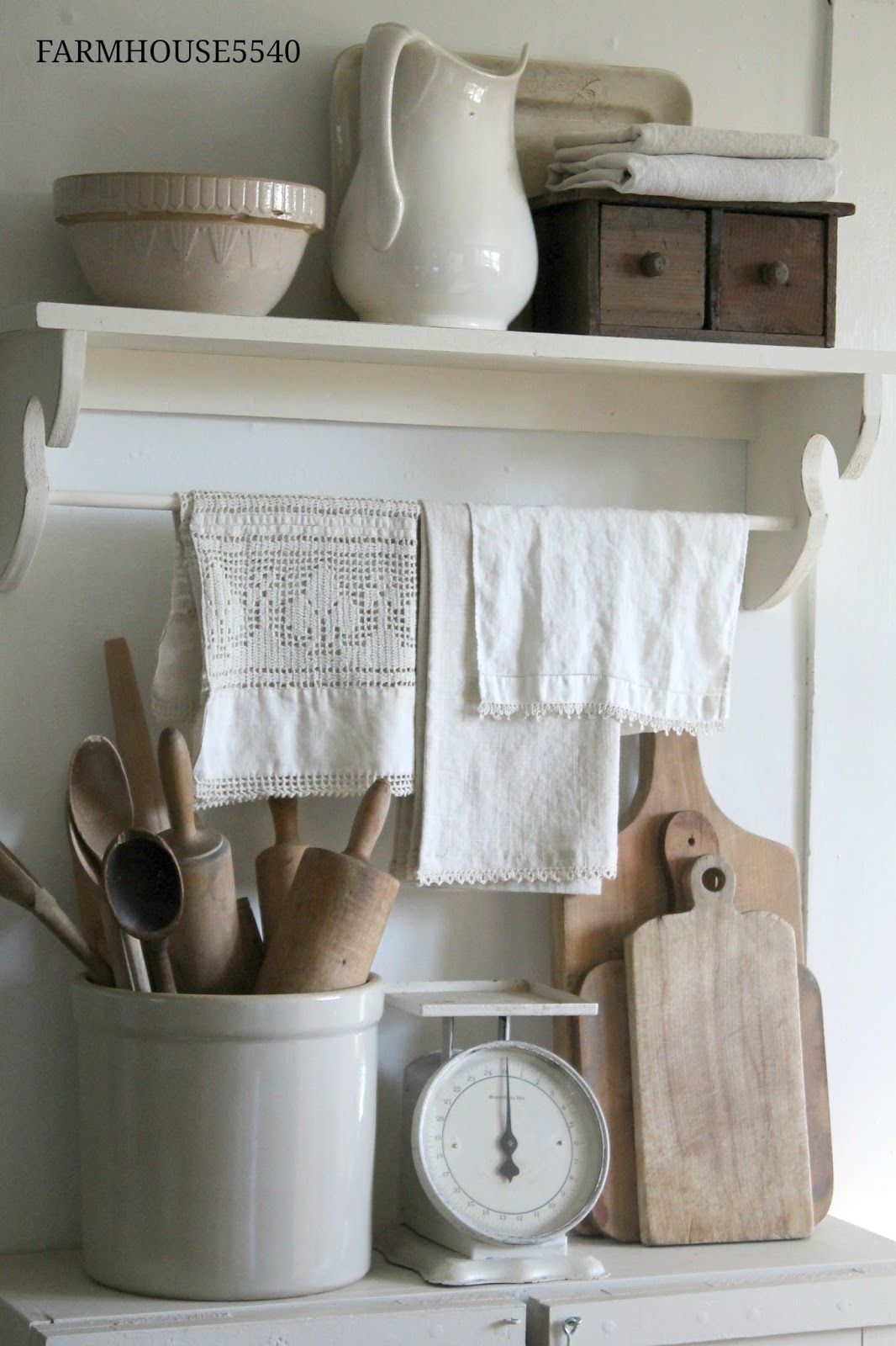 farmhouse kitchen white painted furniture and neutral wood tones a collection of vintage on farmhouse kitchen utensils id=88062
