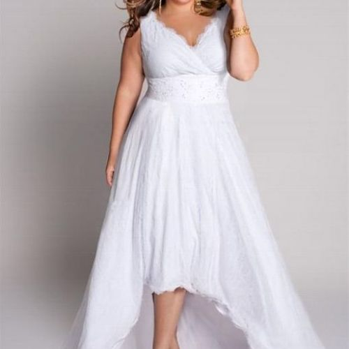 Plus Size Wedding reception dress, short lenght with organza train