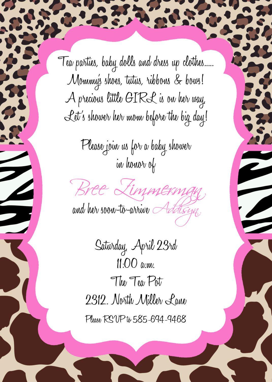 Bree Custom Animal Print Baby Shower Invitation Perfect