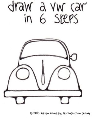 Draw a VW Beetle Car in 6 steps   Creative Doodling