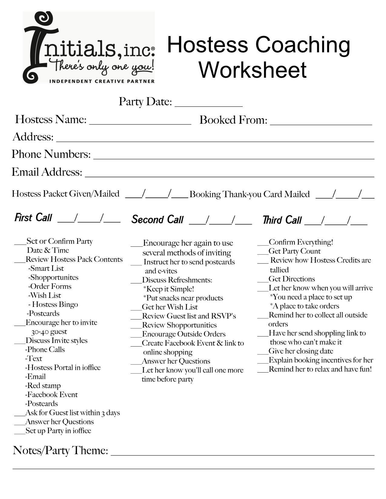 Hostess Coaching Worksheet