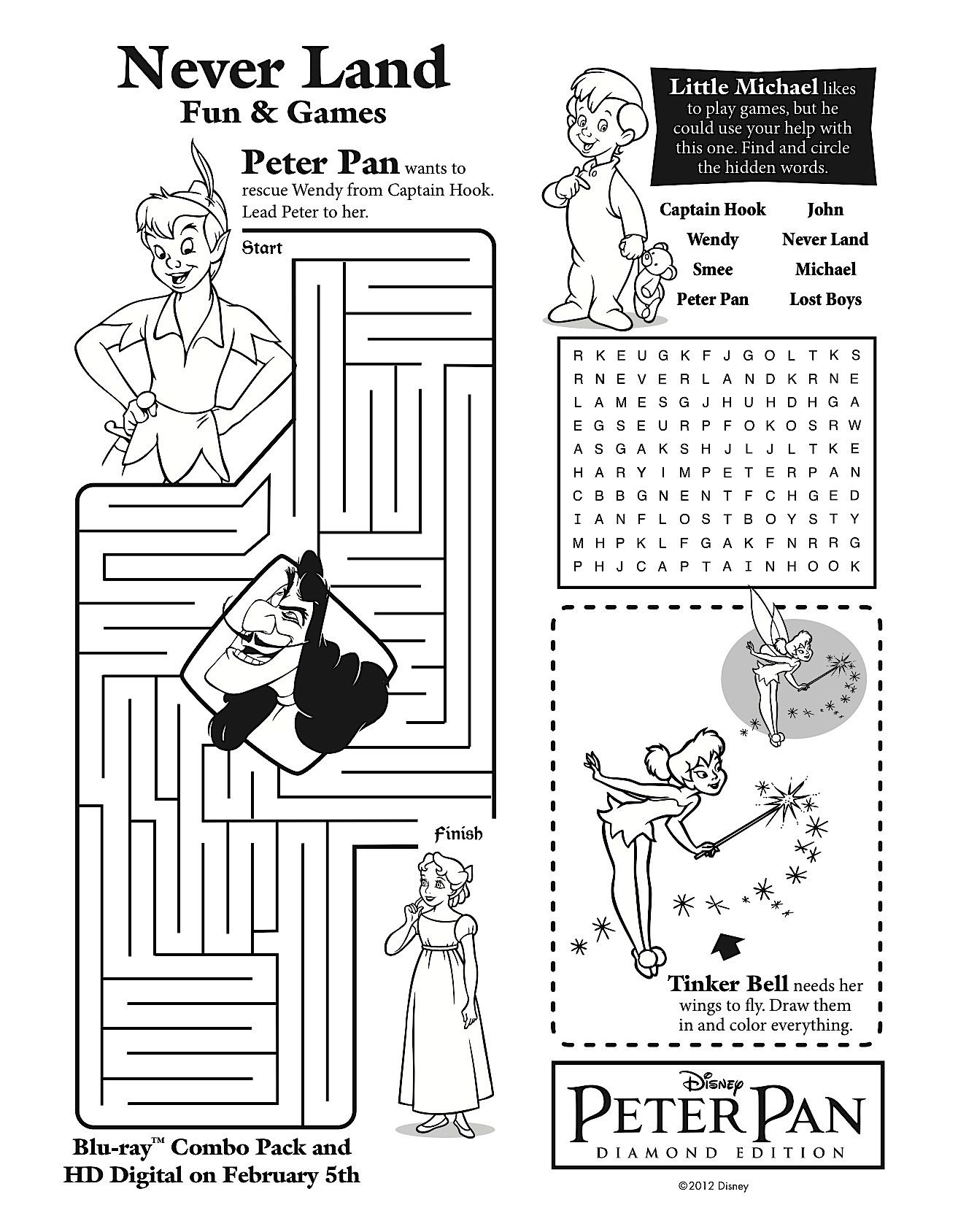 Peter Pan Never Land Printables Coloring Pages 01 31 3