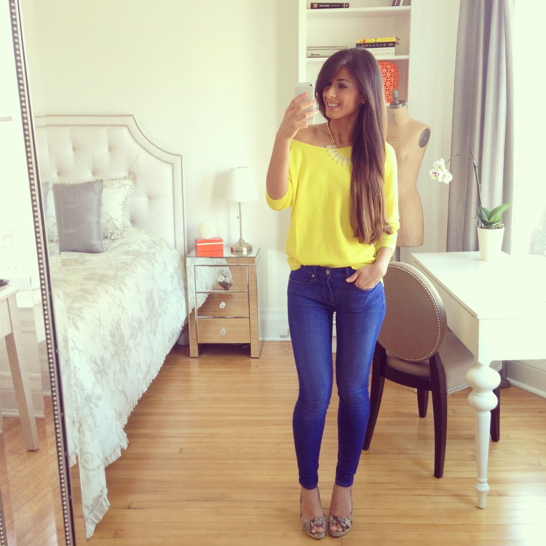 Yellow Shirt Yellow Sweater Off Shoulder Sweater Skinny