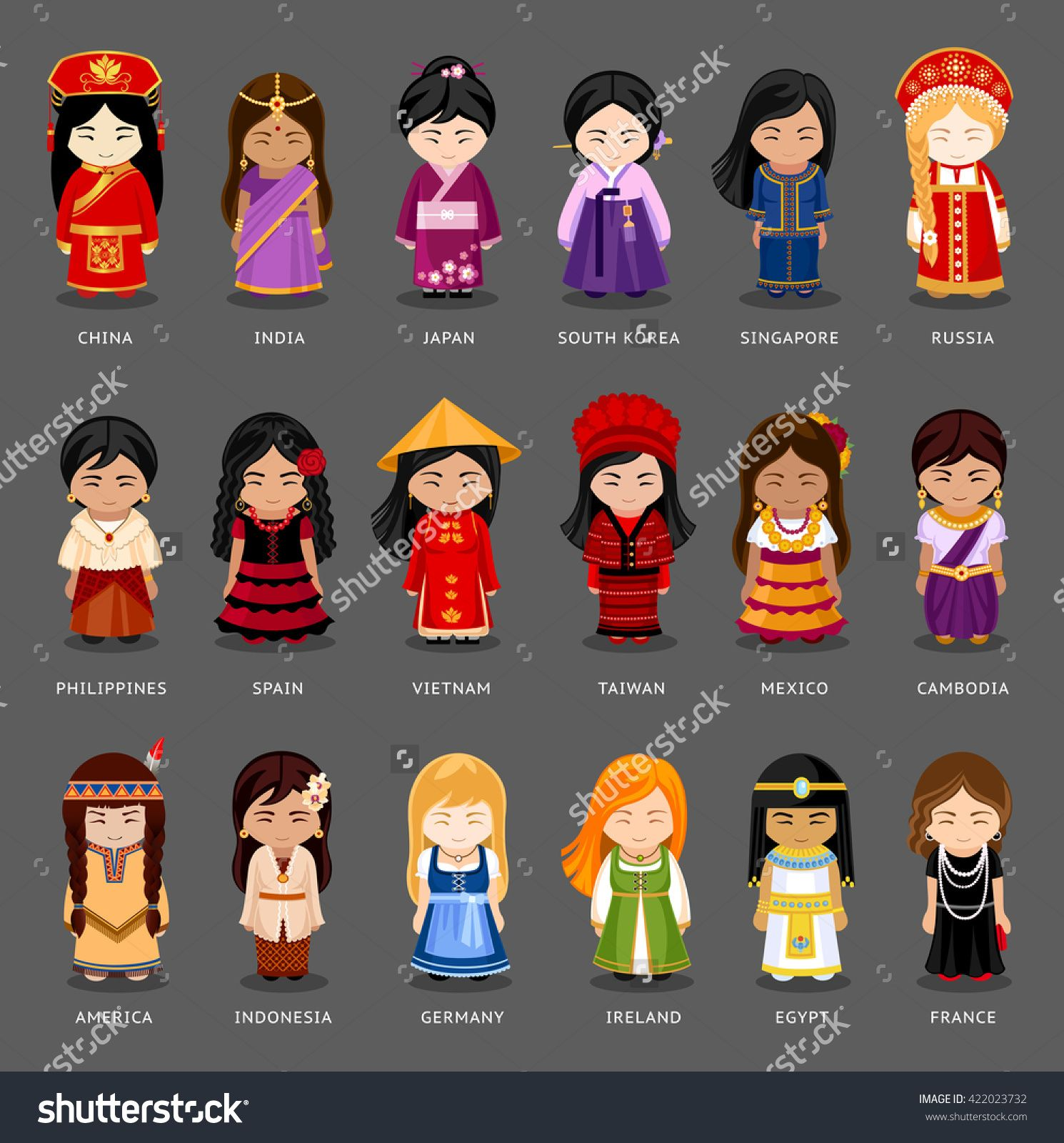 Cartoon Girls In Different National Costumes Vector