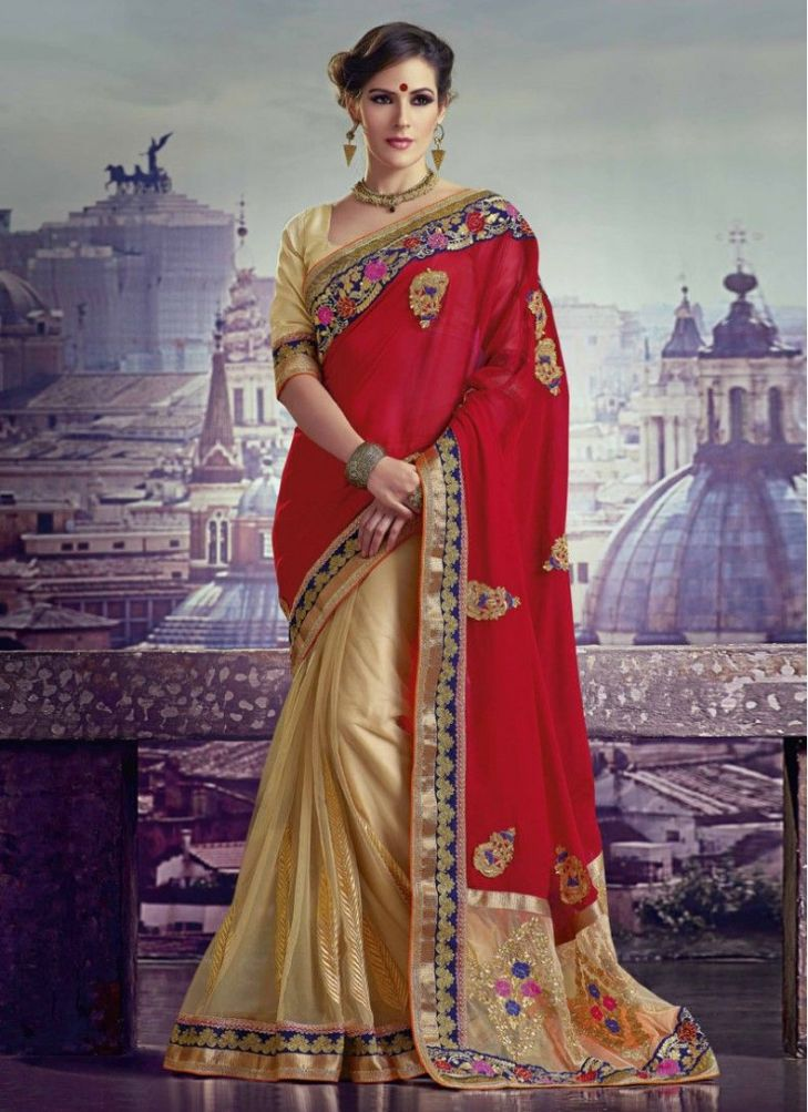 Cream and Red Georgette Embroidered Designer Bridal Sarees Sarees