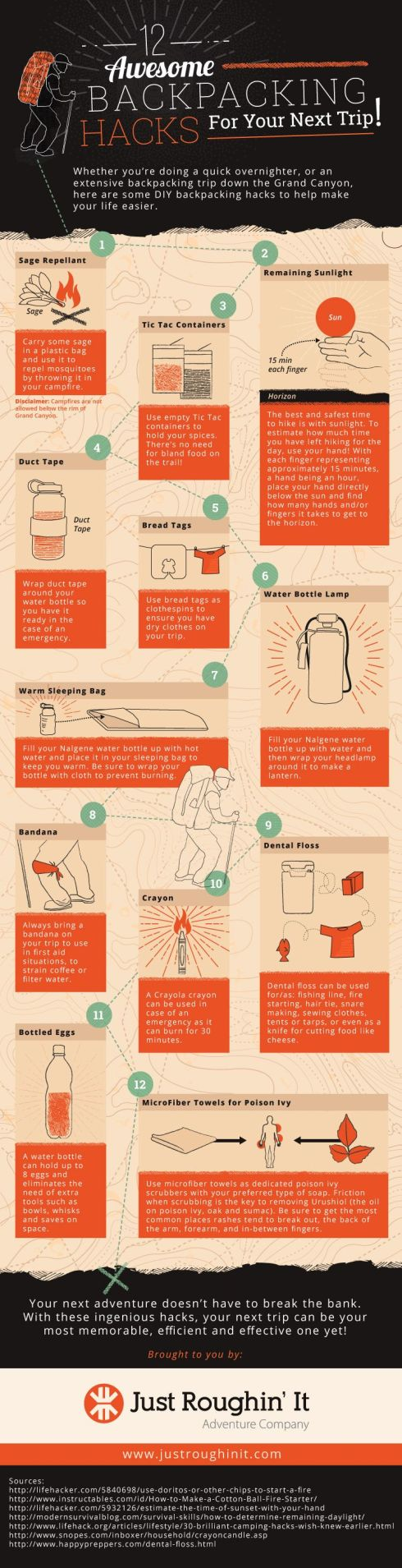 12 Backpacking Hacks for Your Next Trip #infographic