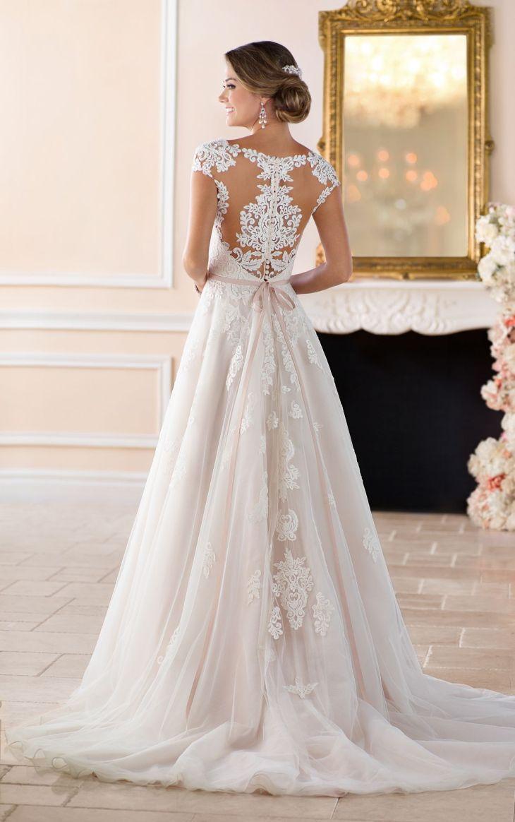 Romantic Cap Sleeve Wedding Dress With Cameo Back  Unique dresses