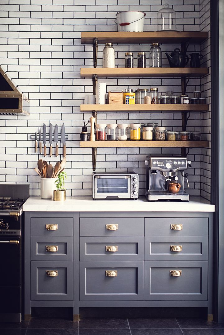 having a moment blue gray kitchen cabinets cafe style gold kitchen and cafes on kitchen cabinets gold hardware id=25041