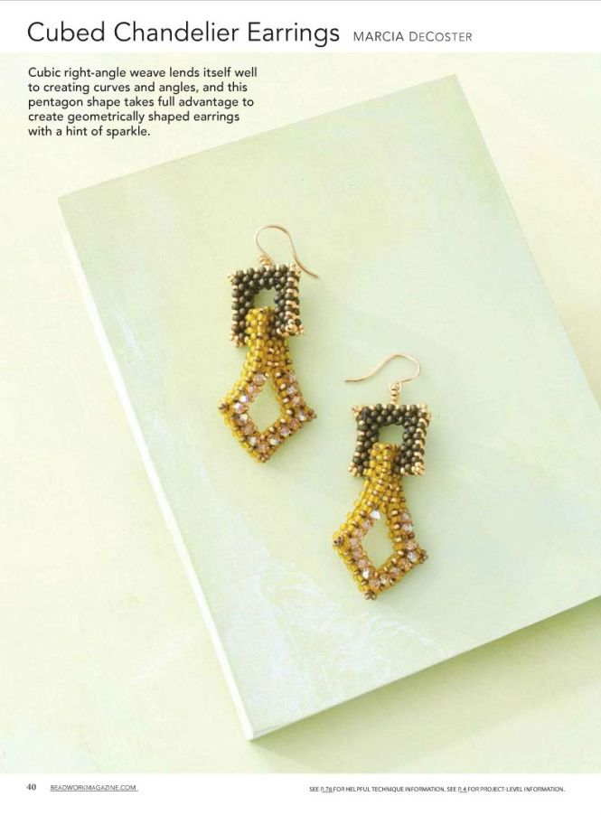 Seed Beads And Cubic Right Angle Weave Are At The Heart Of These Structural Geometric Earrings Finished Size 2 Materials G Gold Anese See