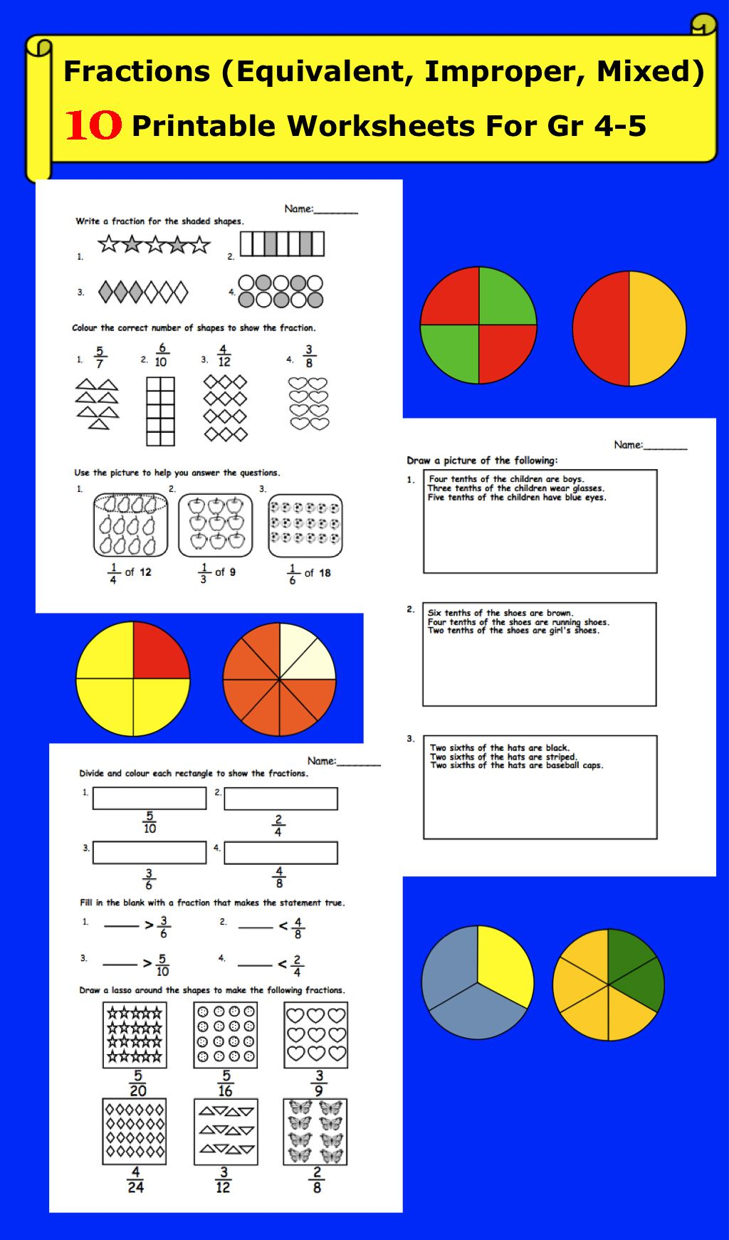 Fractions Equivalent Improper Mixed Printable