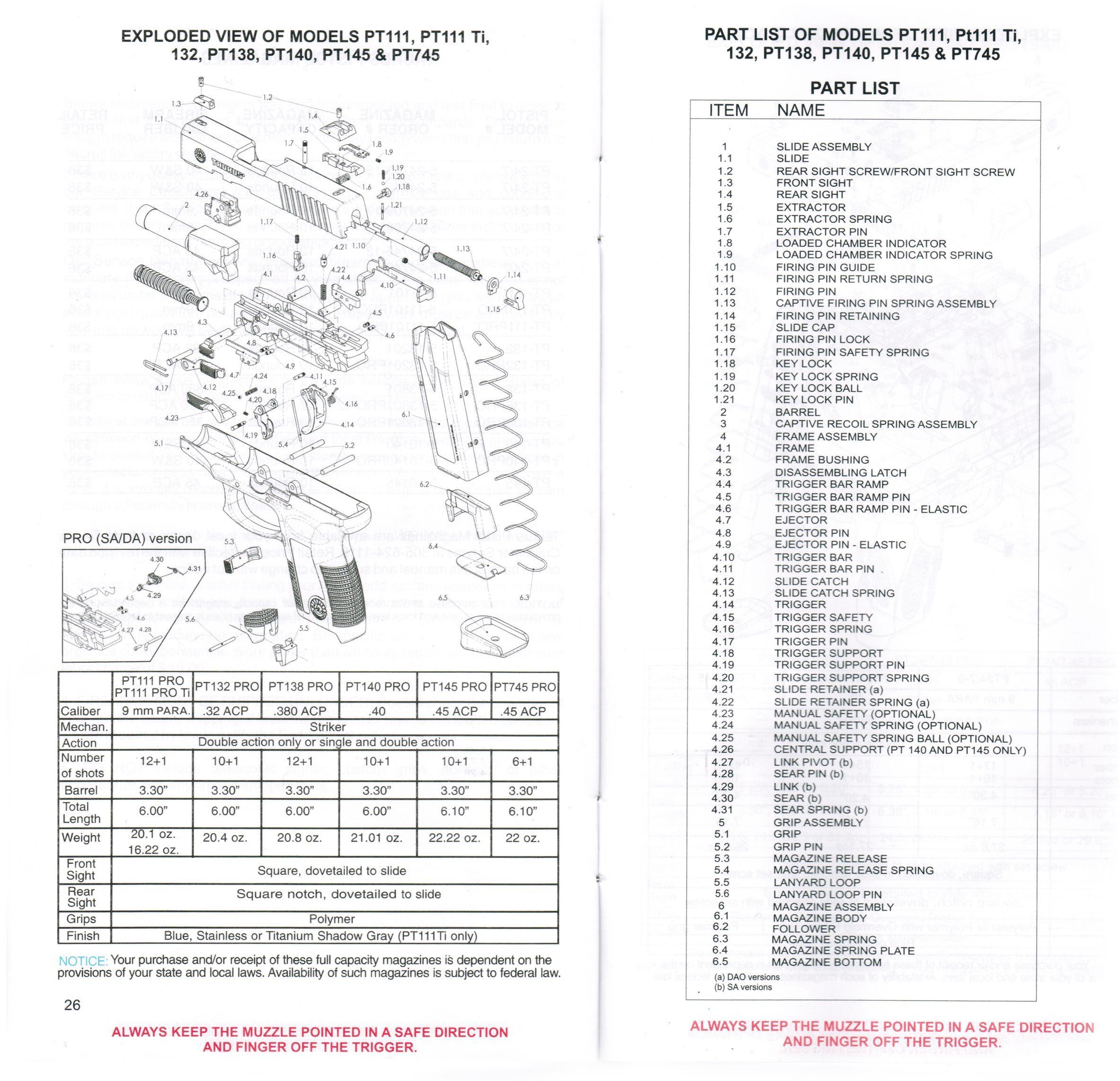 Taurus Pt111 Parts Diagram