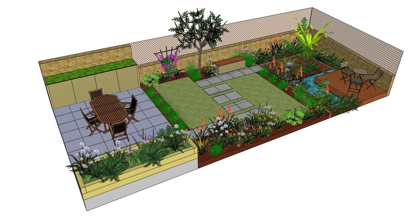 Richmond garden design drawn using SketchUp by FORK Garden ... on Sketchup Backyard id=58700