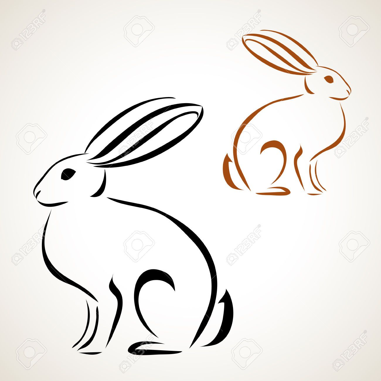 Easter Card With Rabbit Outline Royalty Free Cliparts