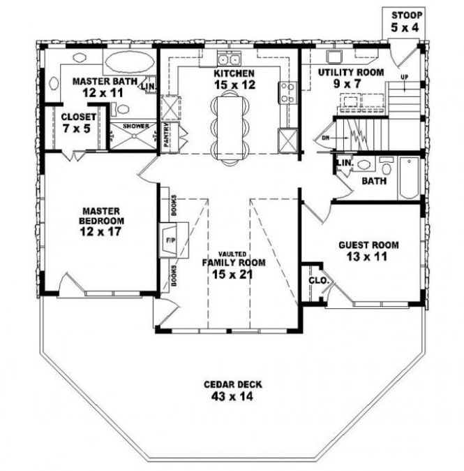 653775 Two Story 2 Bedroom Bath Country Style House Plan