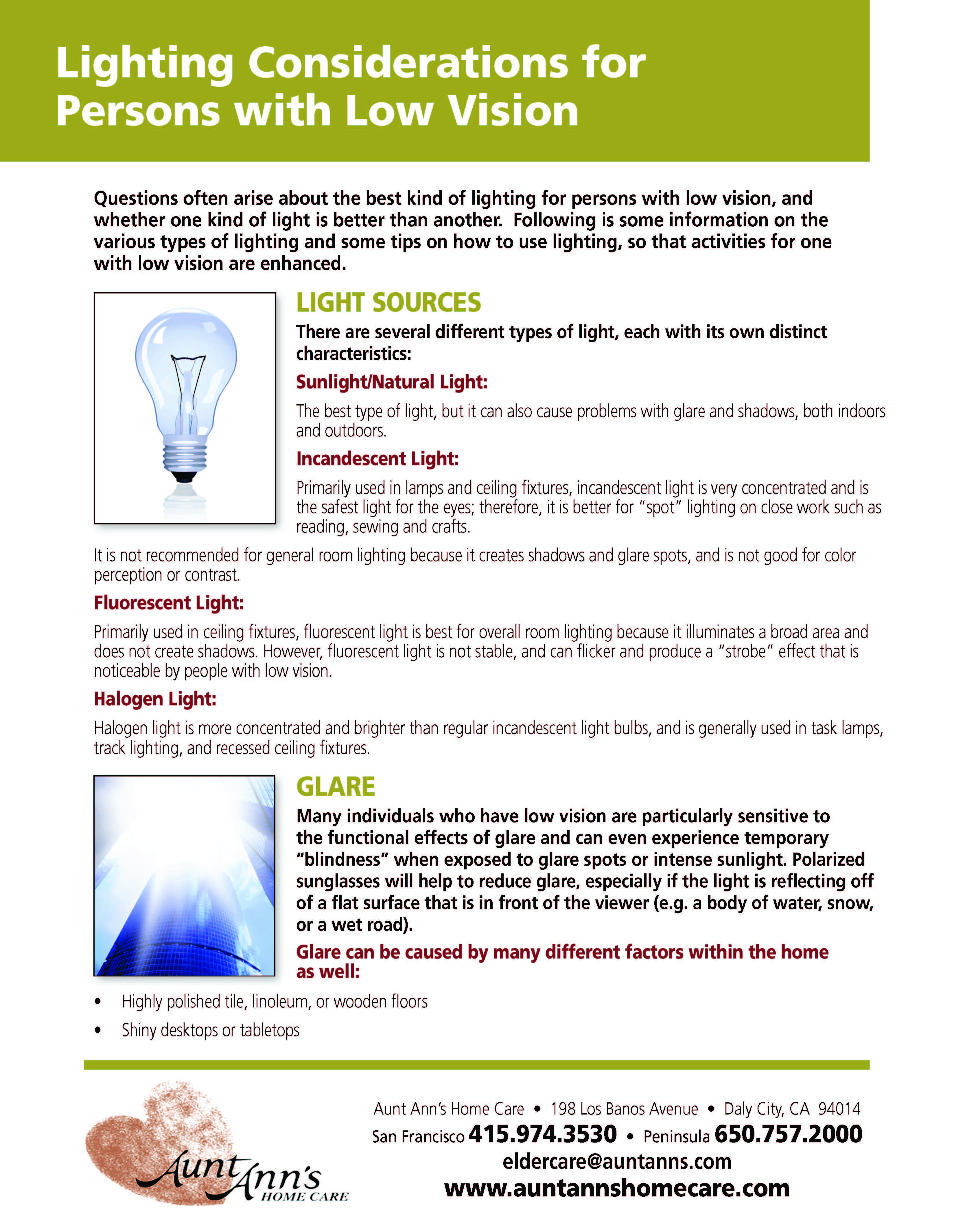 Lighting Considerations For Persons With Low Vision