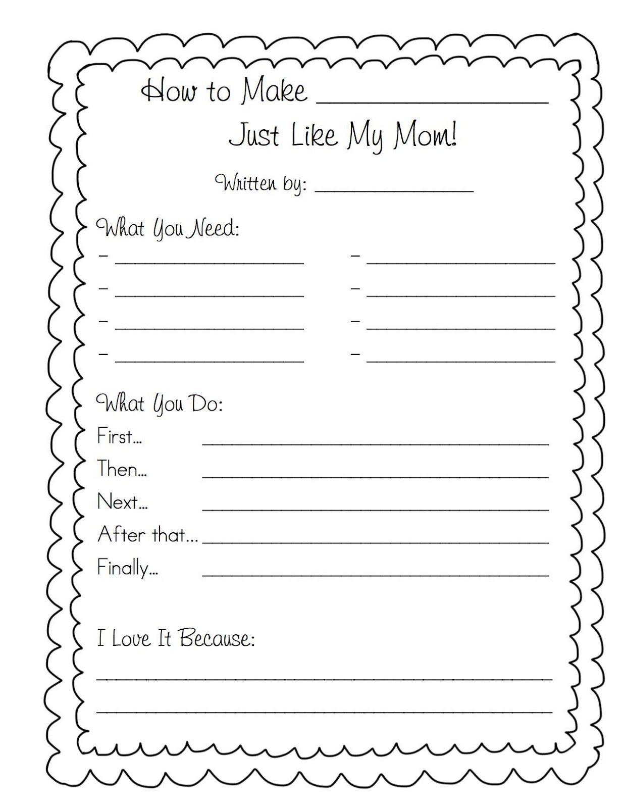 Mothers Day Cookbook Free Printable