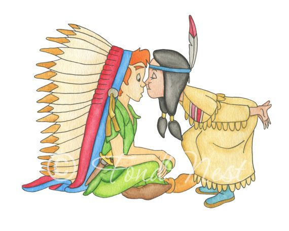 Disney Peter Pan And Tiger Lily Nose Kiss Watercolor By