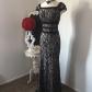 sangria beautiful black lace long dress lace long dresses