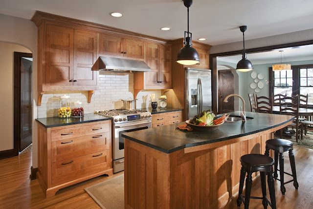 Cherry cabinets, greenish black soapstone counters and ... on Backsplash Maple Cabinets With Black Countertops  id=21794